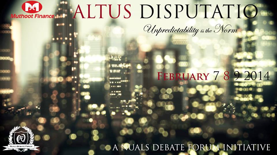 NUALS Kochi's Debate Competition Altus Disputatio [Feb. 7-9]: Register by Feb 7, Prizes Worth 1.15 Lacs