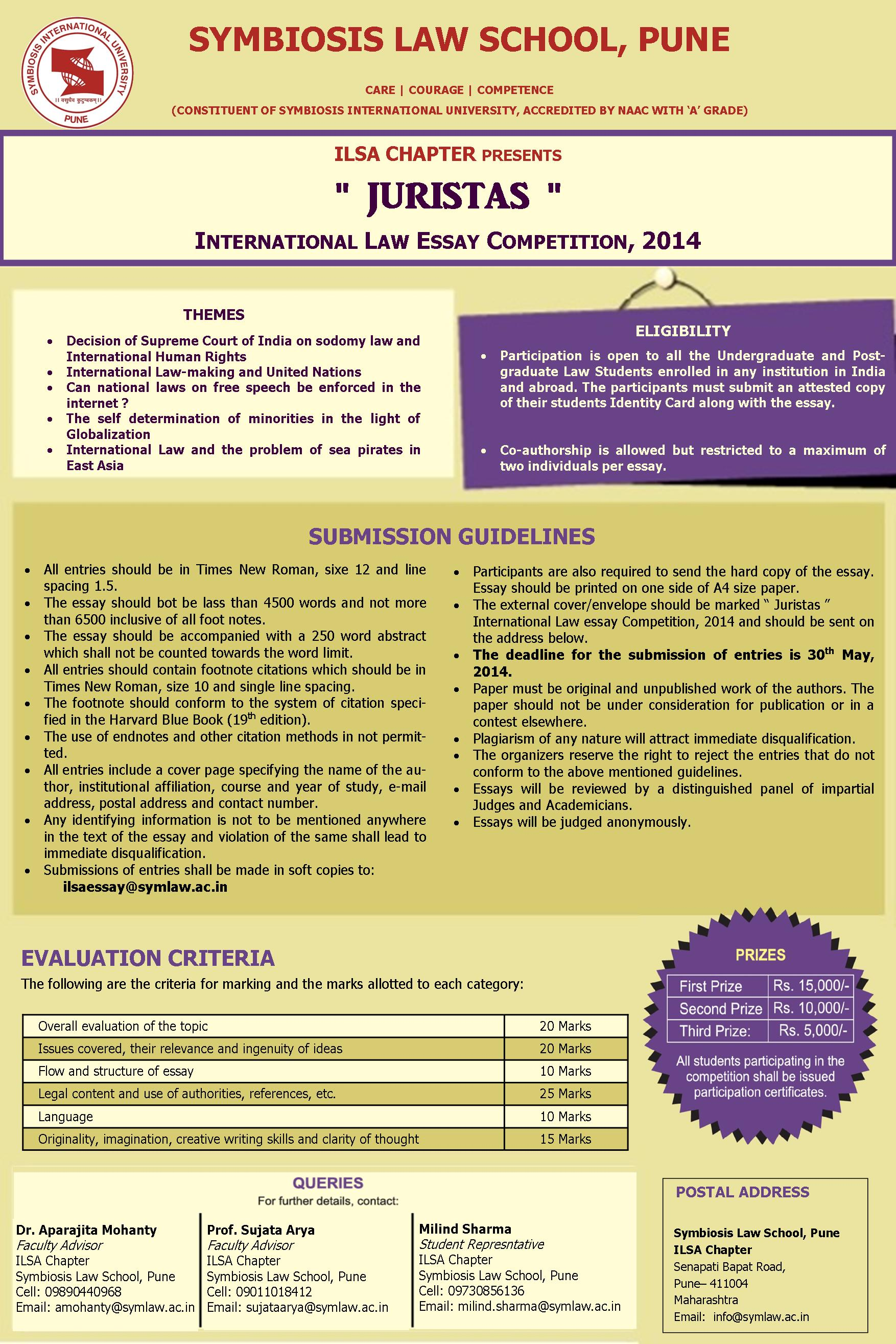 sls pune ilsa chapter s international law essay competition juristas symbiosis pune ils chapter international law essay writing competition juristas