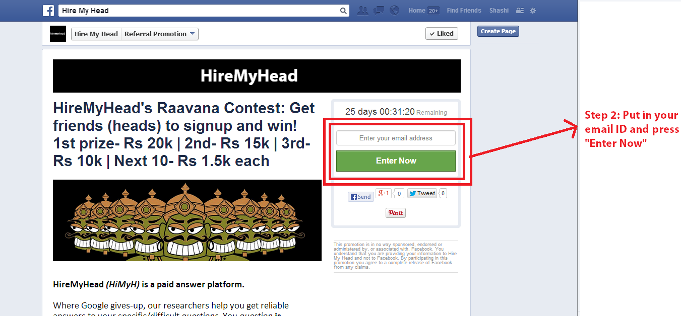 hiremyhead's raavana friend referral contest