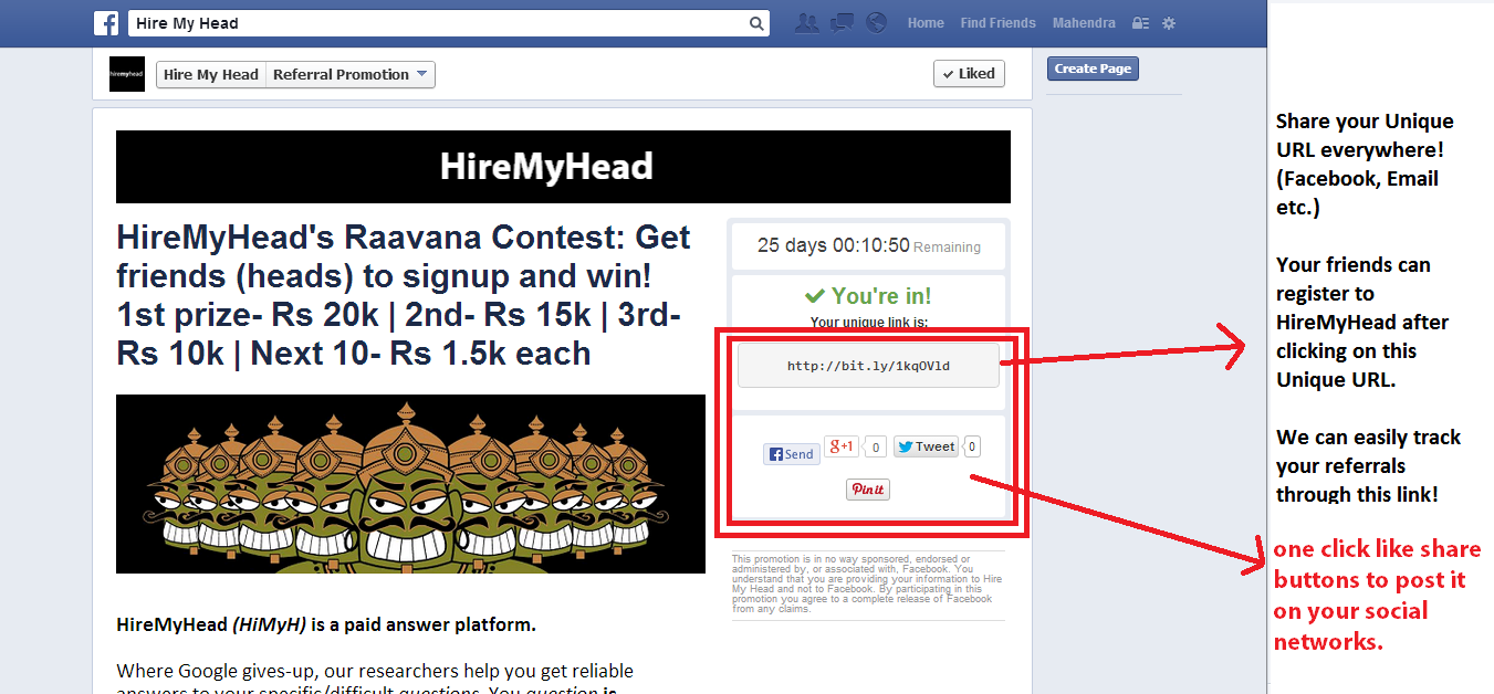 hiremyhead's raavana friends referral contest