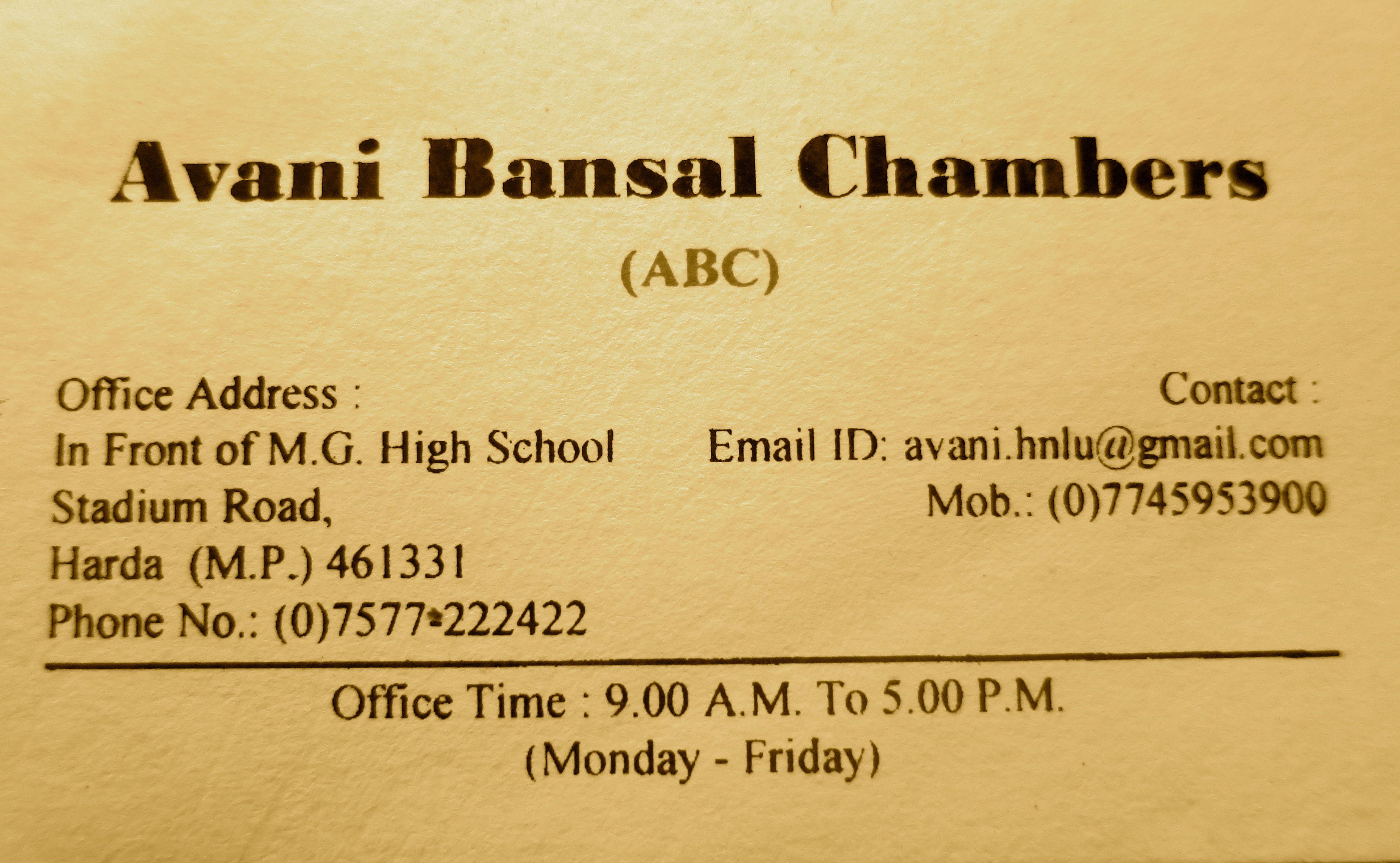 avani bansal chambers job
