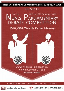 NUALS PD, Parliamentary debate competition, law school parliamentary debate, NUALS Cochin