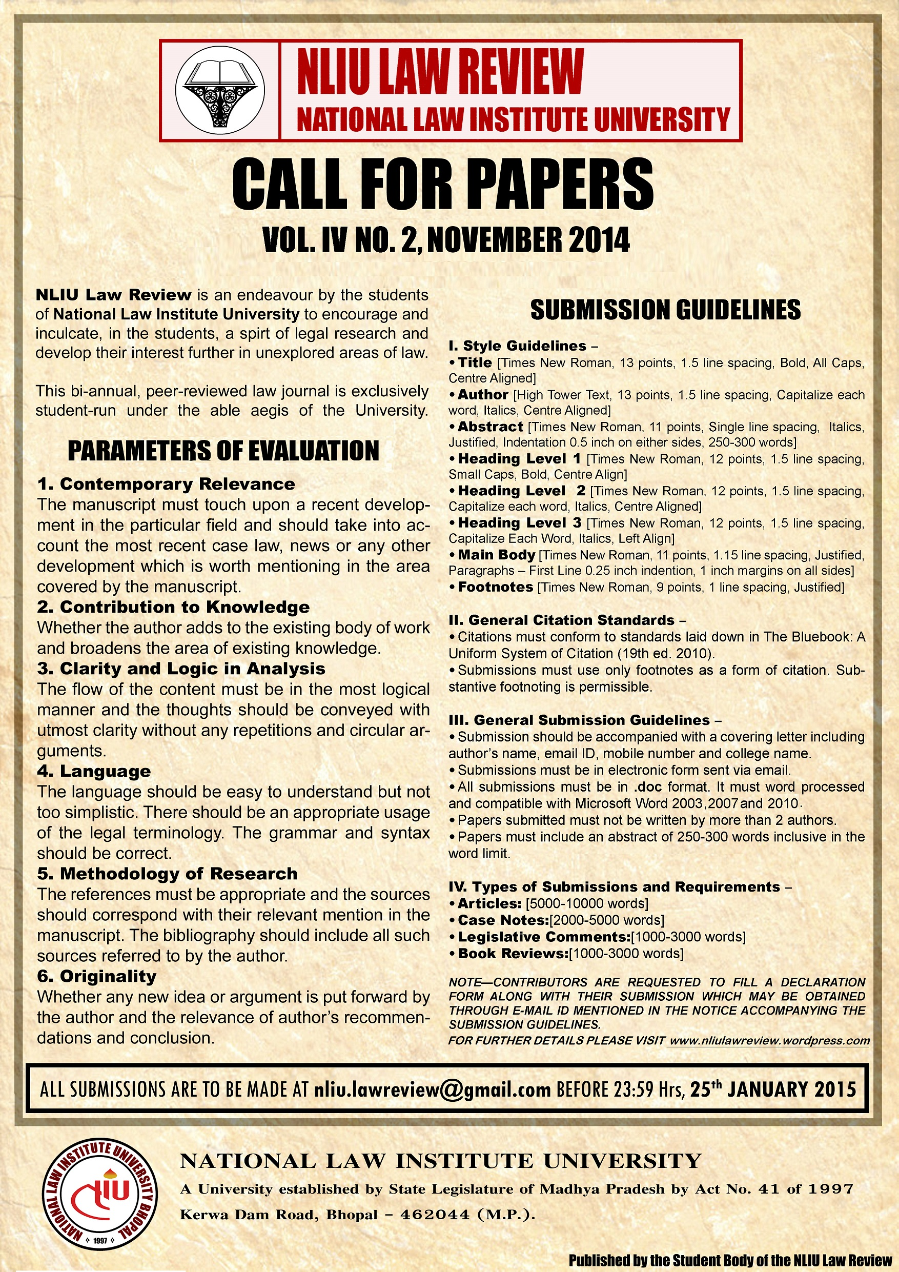 call for papers nliu law review