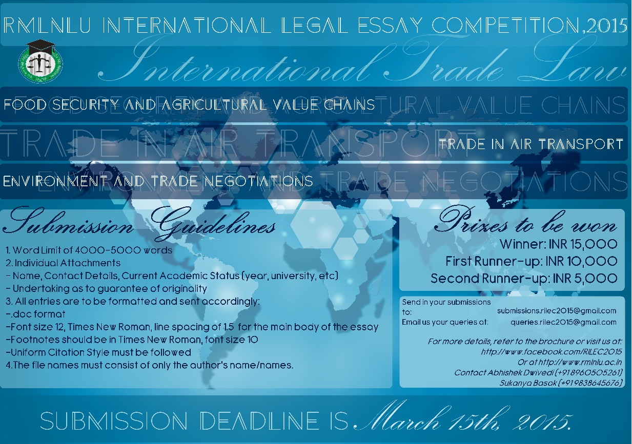 rd rmlnlu international legal essay competition rilec  rilec2015