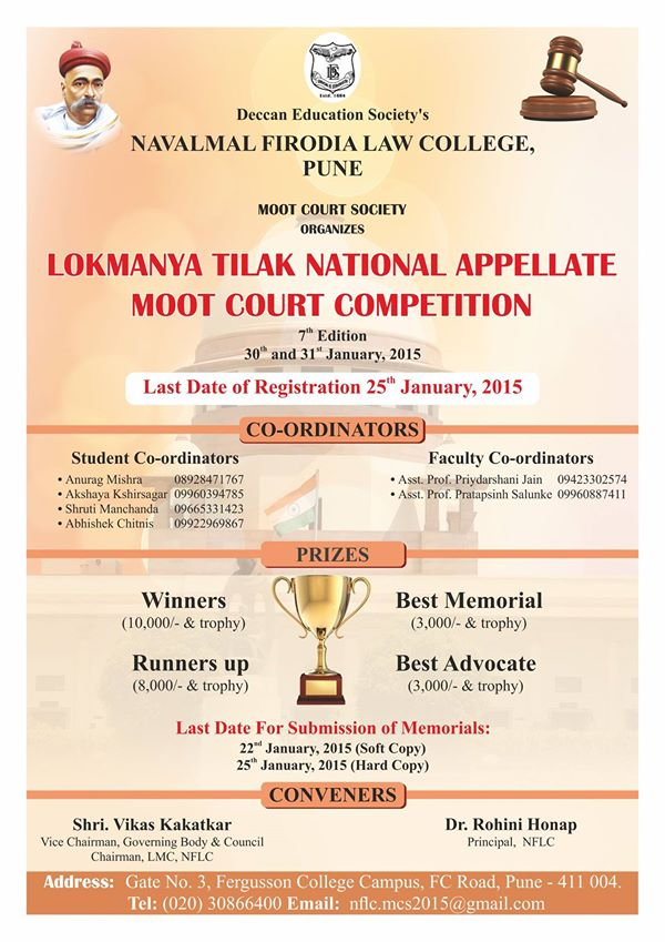 DES Navalmal Firodia Law College Pune, LOKMANYA TILAK NATIONAL APPELLATE MOOT COURT COMPETITION 2014-15