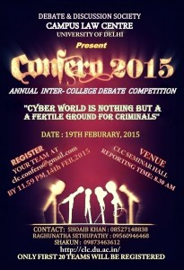 Campus Law Centre Inter Collegiate Debate 'Confero' 2015 [Feb 19]: Register by Feb 14