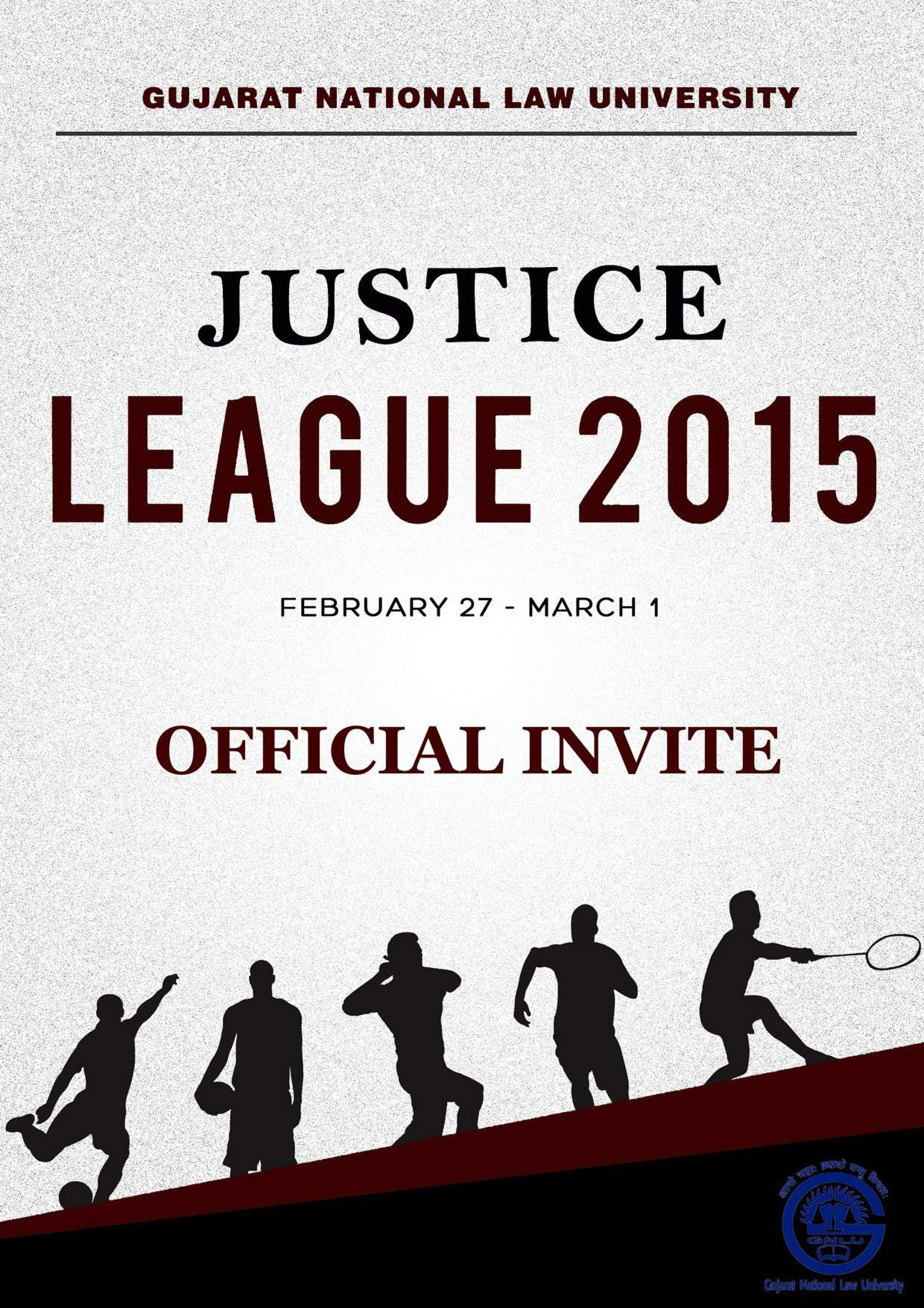 Pre invite for gnlu sports fest justice league 2015 official invite jl15pressed page 001 stopboris Choice Image