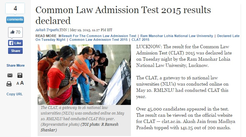 clat 2015 results, times of india clat results