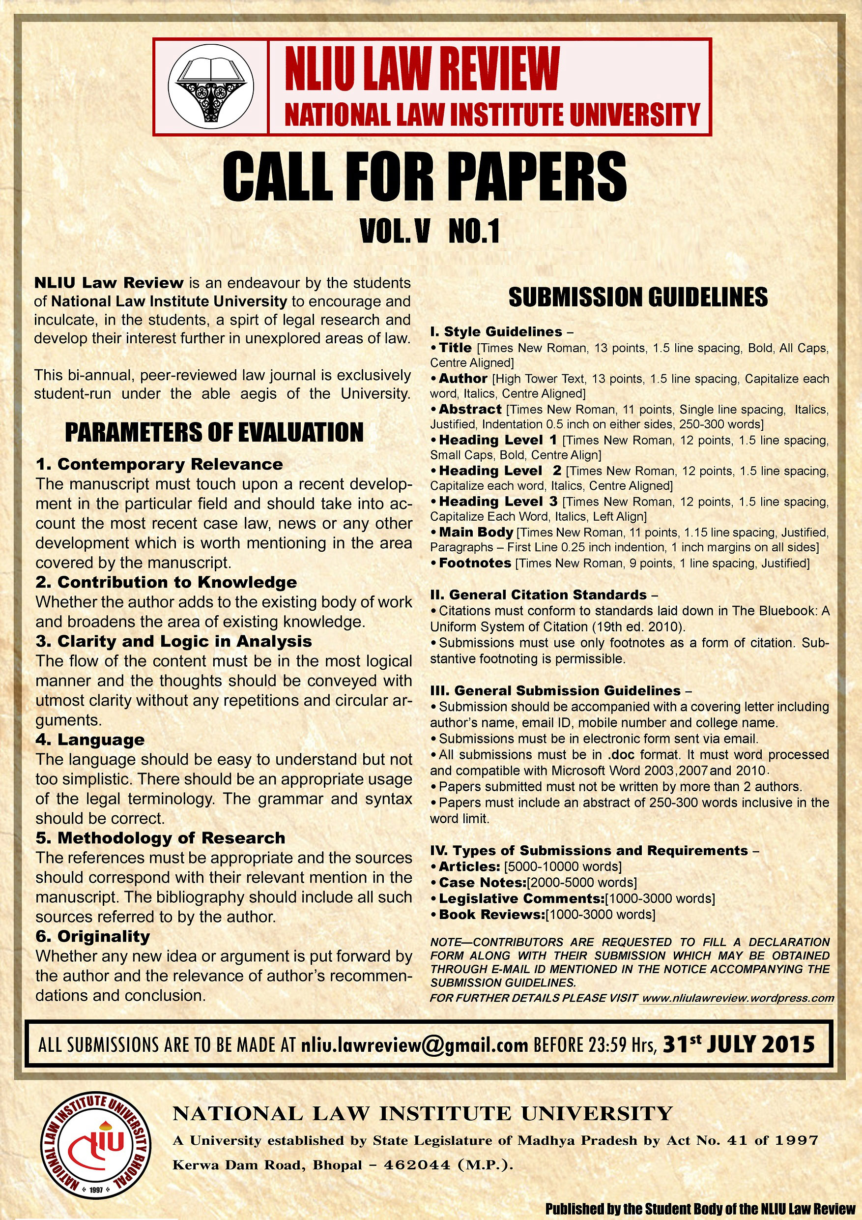 nliu law review call for papers