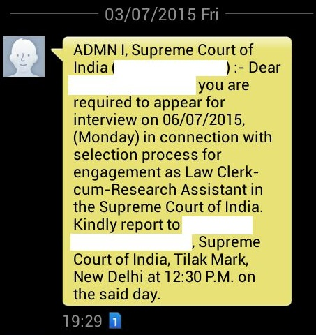 supreme court law exam result interview