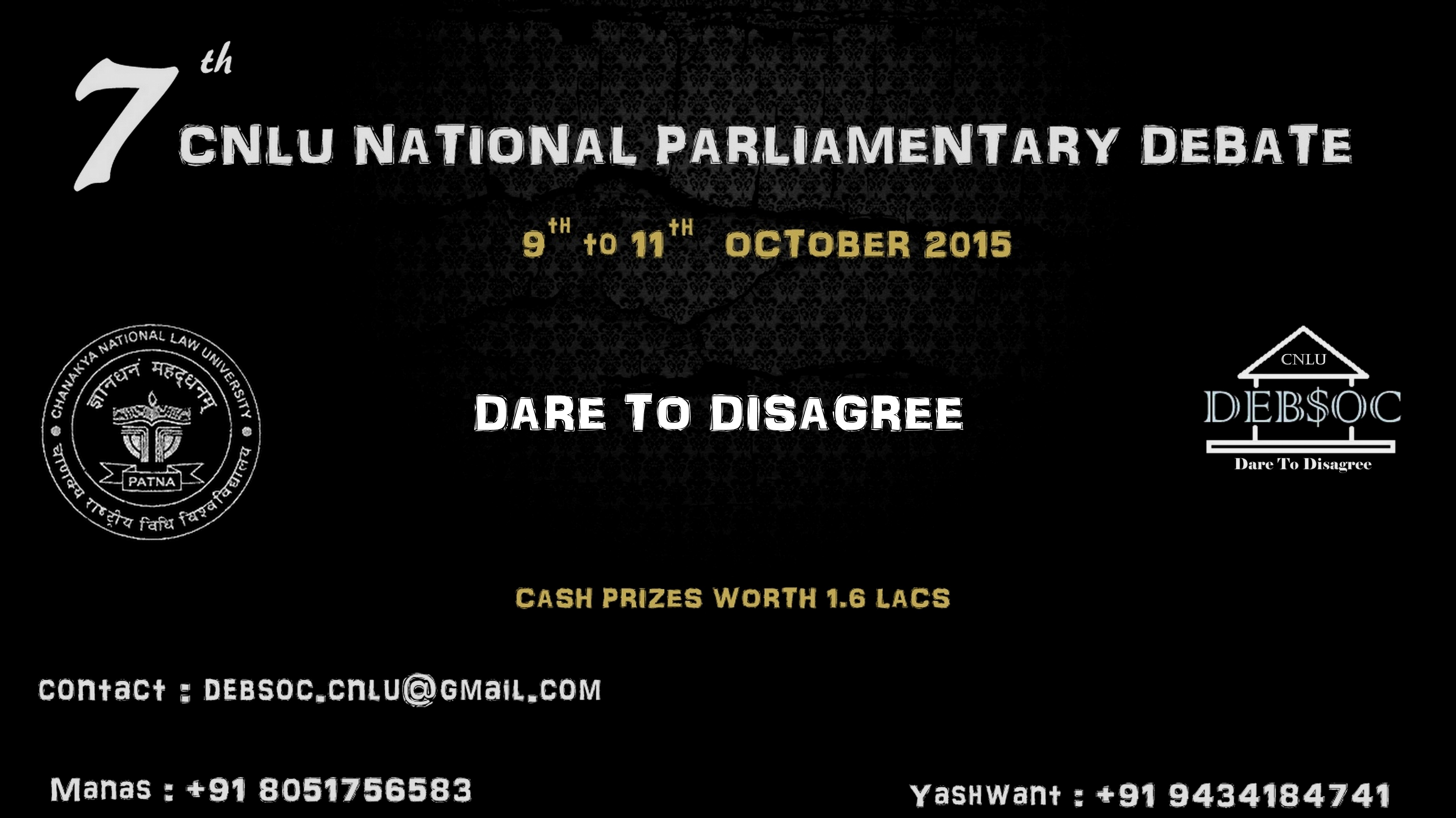 7th CNLU Parliamentry Debate 2015  [Oct 9-11]: Submit by Sep 19