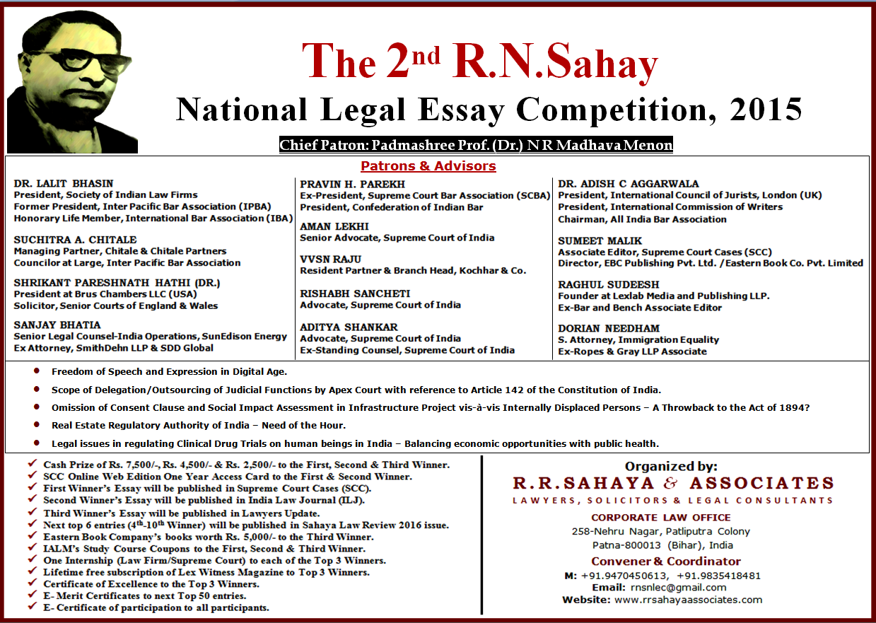 2nd r n sahay national legal essay competition 2015 r n sahay poster rnsnlec 2015 page 1 of 2