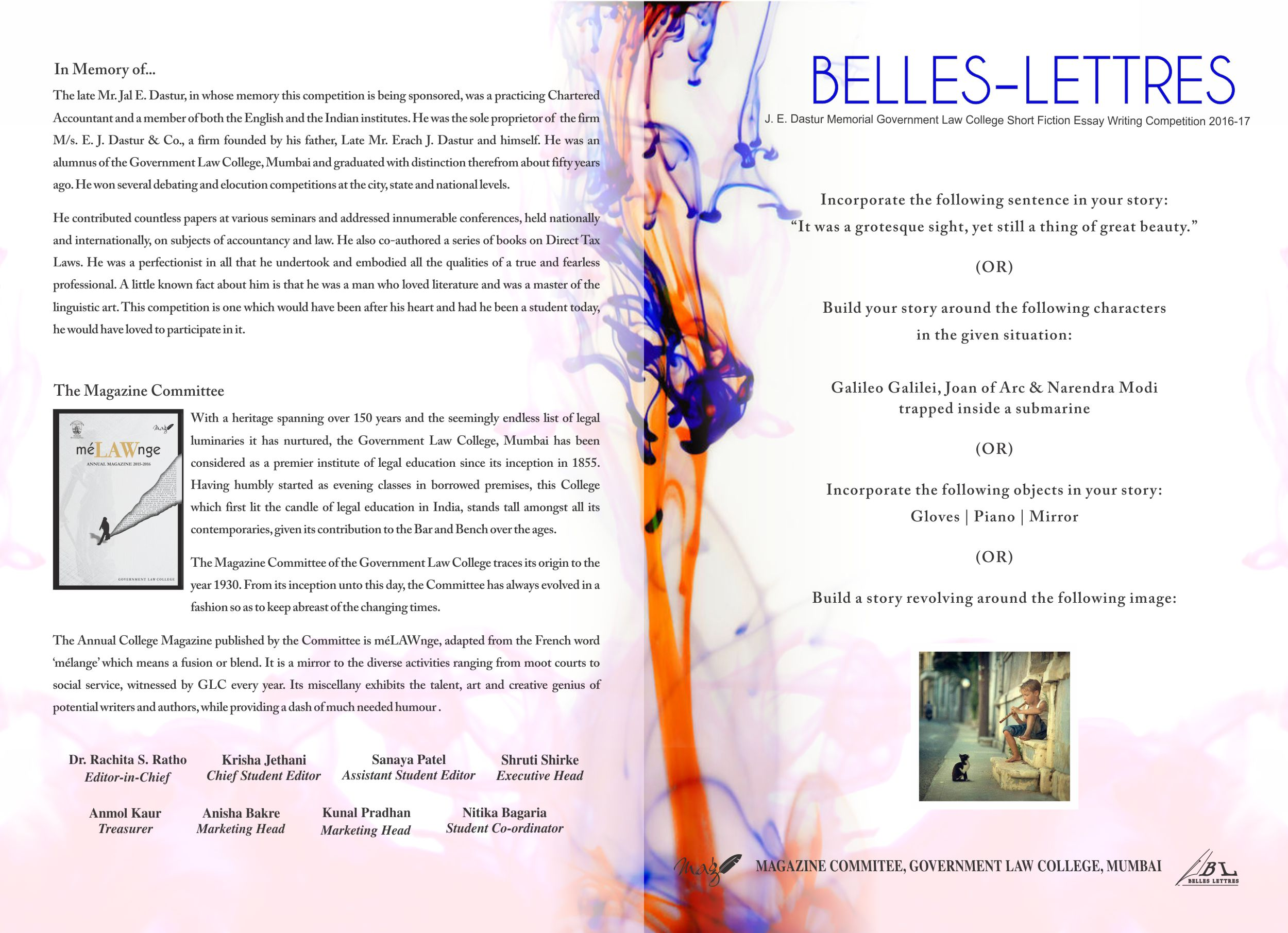 belles lettres glc short fiction writing competition  belles lettres j e dastur memorial government law college fiction essay writing competition
