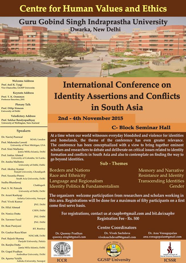 GGSIPU, Delhi, International Conference on Identity Assertions and Conflicts in South Asia