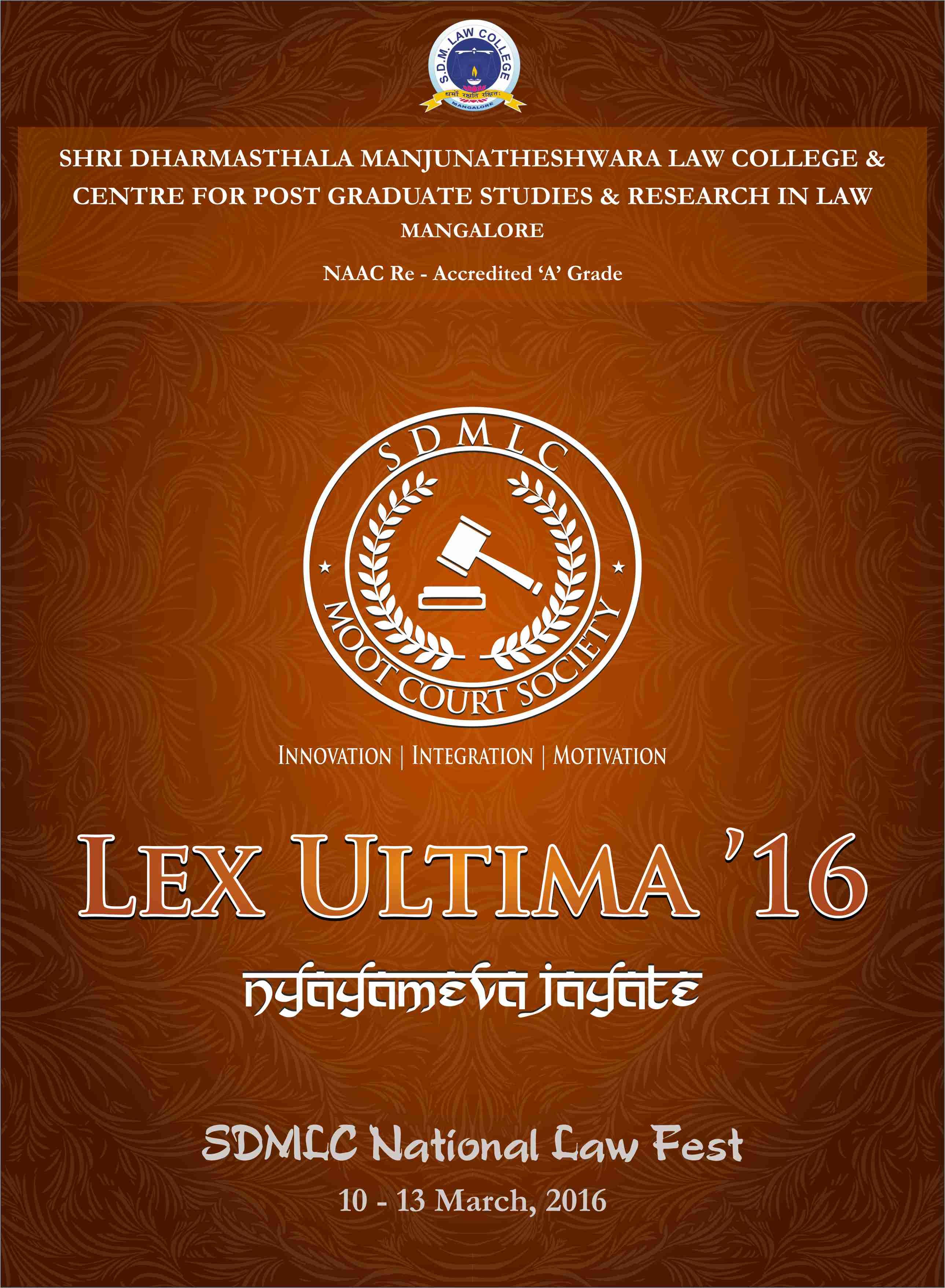 Shri Dharmasthala Manjunatheshwara Law College, Mangalore's Law Fest 'Lex Ultima 2016'
