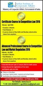 Indian Institute of Corporate Affairs' Certificate Course in Competition Law 2016