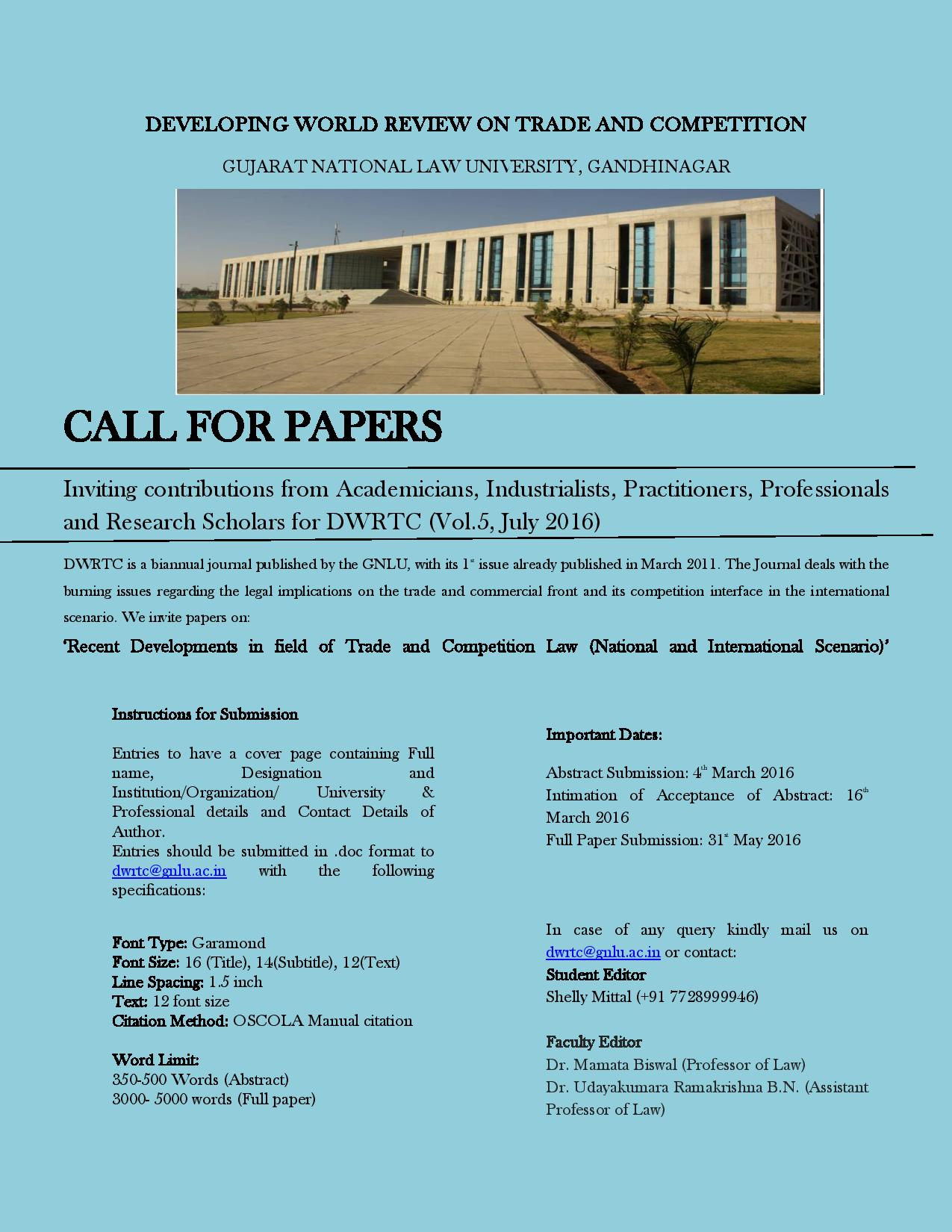 Call for Papers: Developing World Review on Trade and Competition