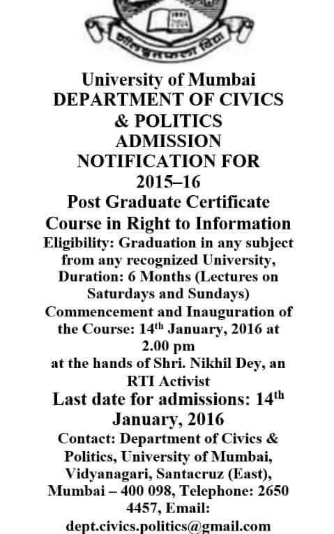 University of Mumbai, Department of Civics & Politics, 2015-16 PG Certificate Course in RTI