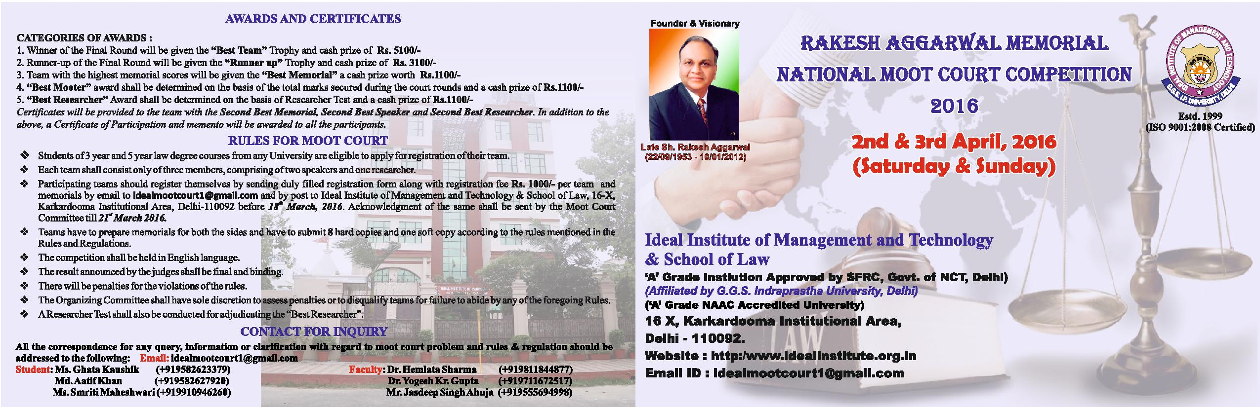 IIMT & School of Law's Rakesh Aggarwal Memorial Moot Court Competition 2016