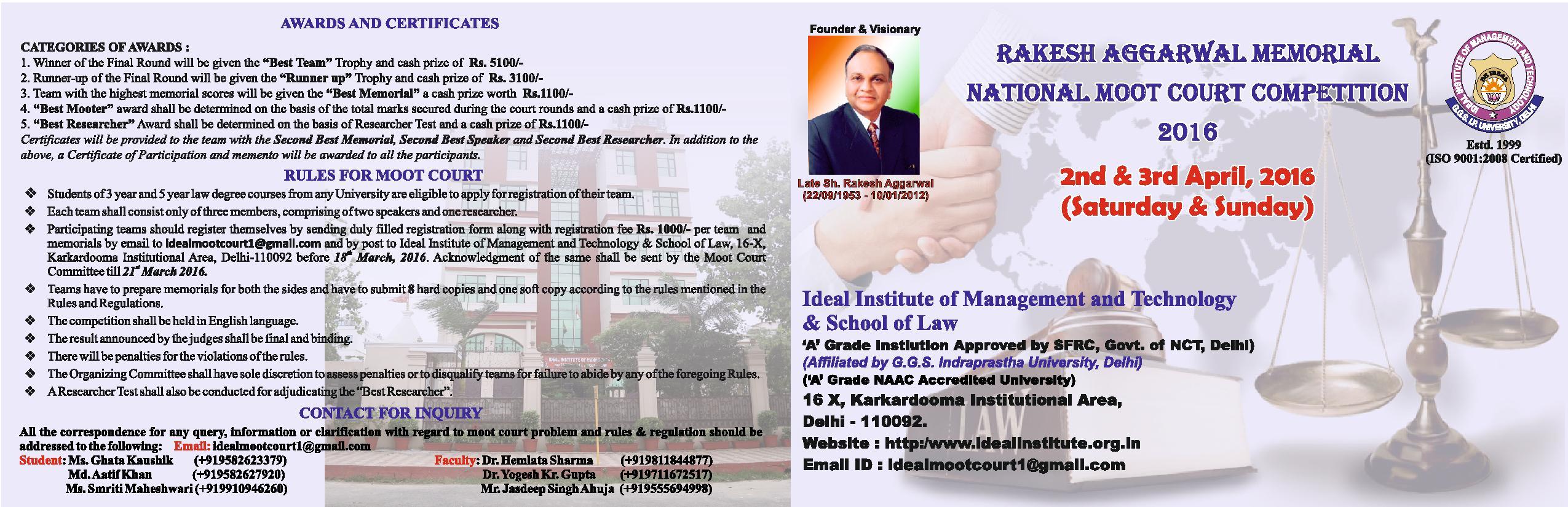 IIMT & School of Law's Rakesh Aggarwal Memorial Moot Court Competition 2016