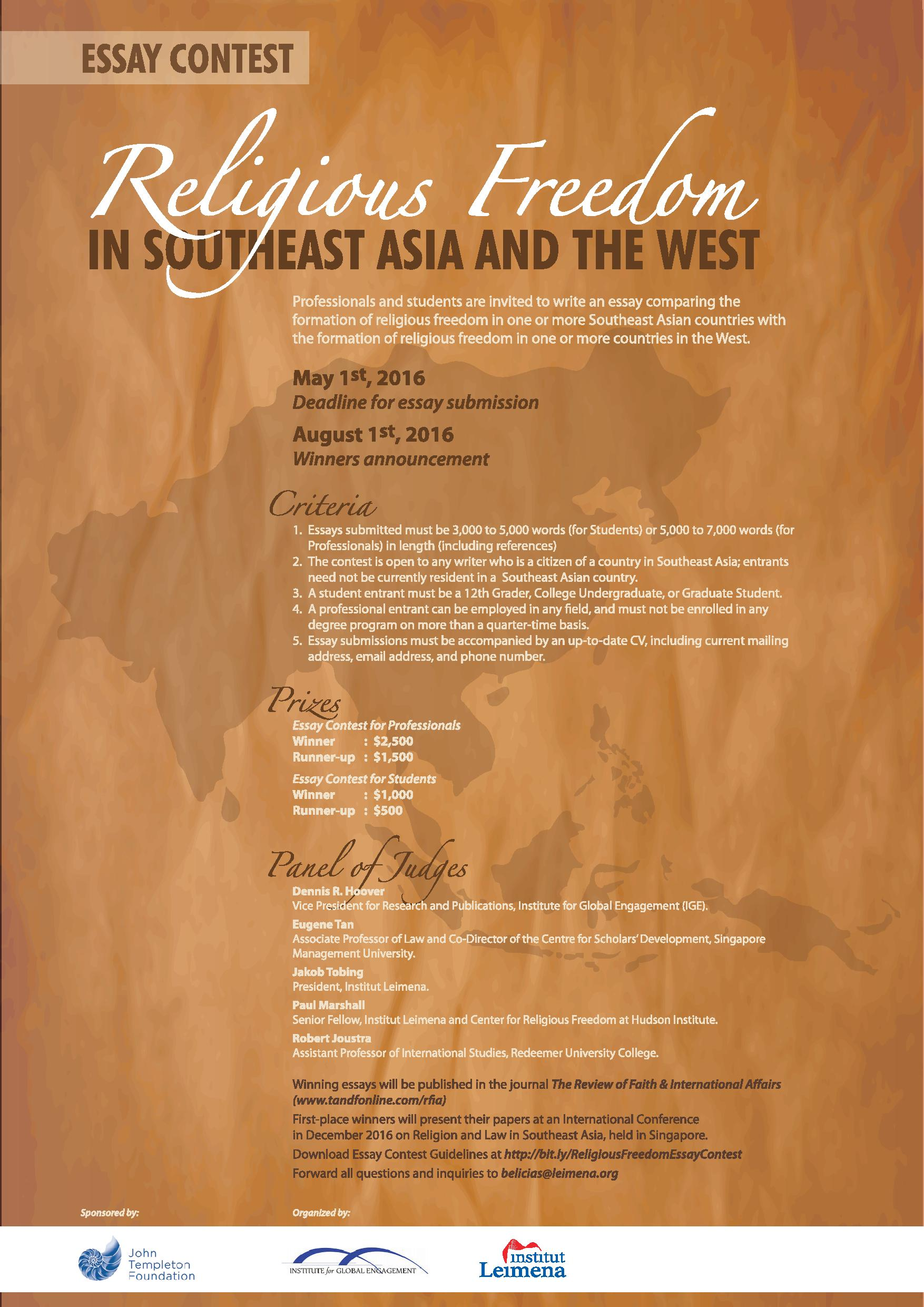 Institute for Global Engagement's Essay Contest on Religious Freedom in Southeast Asia and the West