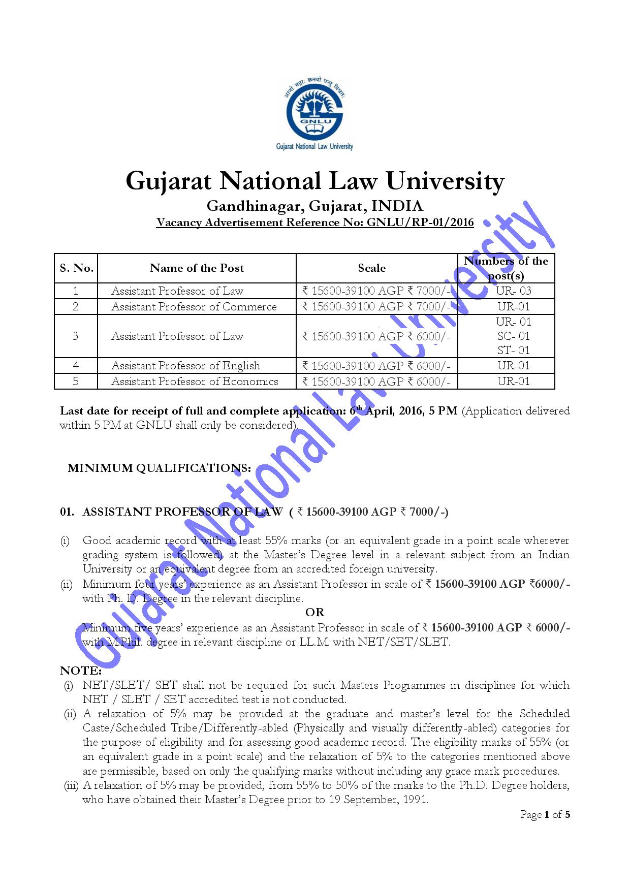 JOB POST: Assistant Professor @ Gujarat National Law University [GNLU]