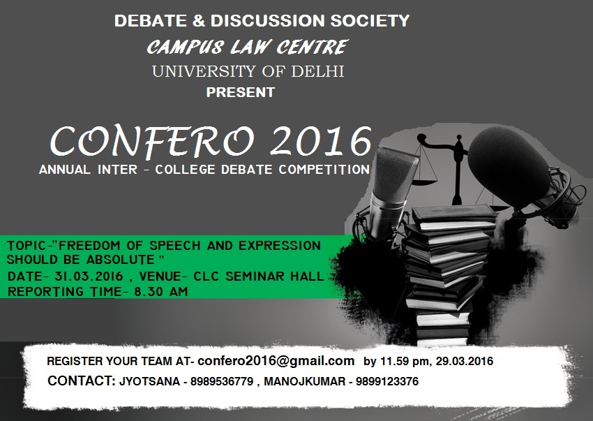 CLC Annual Inter-College Debate Competition CONFERO 2016
