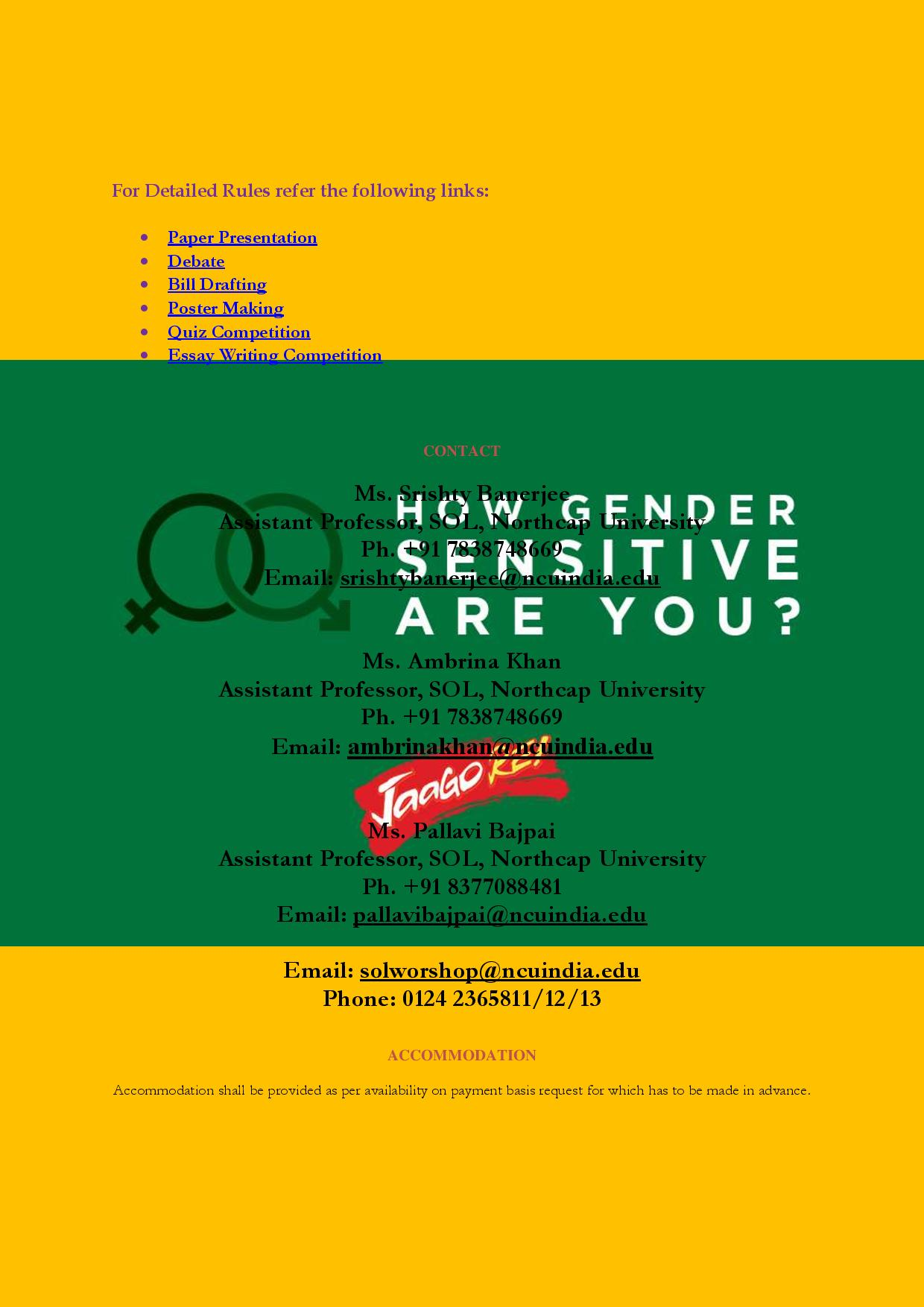 School of Law, Northcap University's Workshop on Equality, Justice and Gender Sensitization