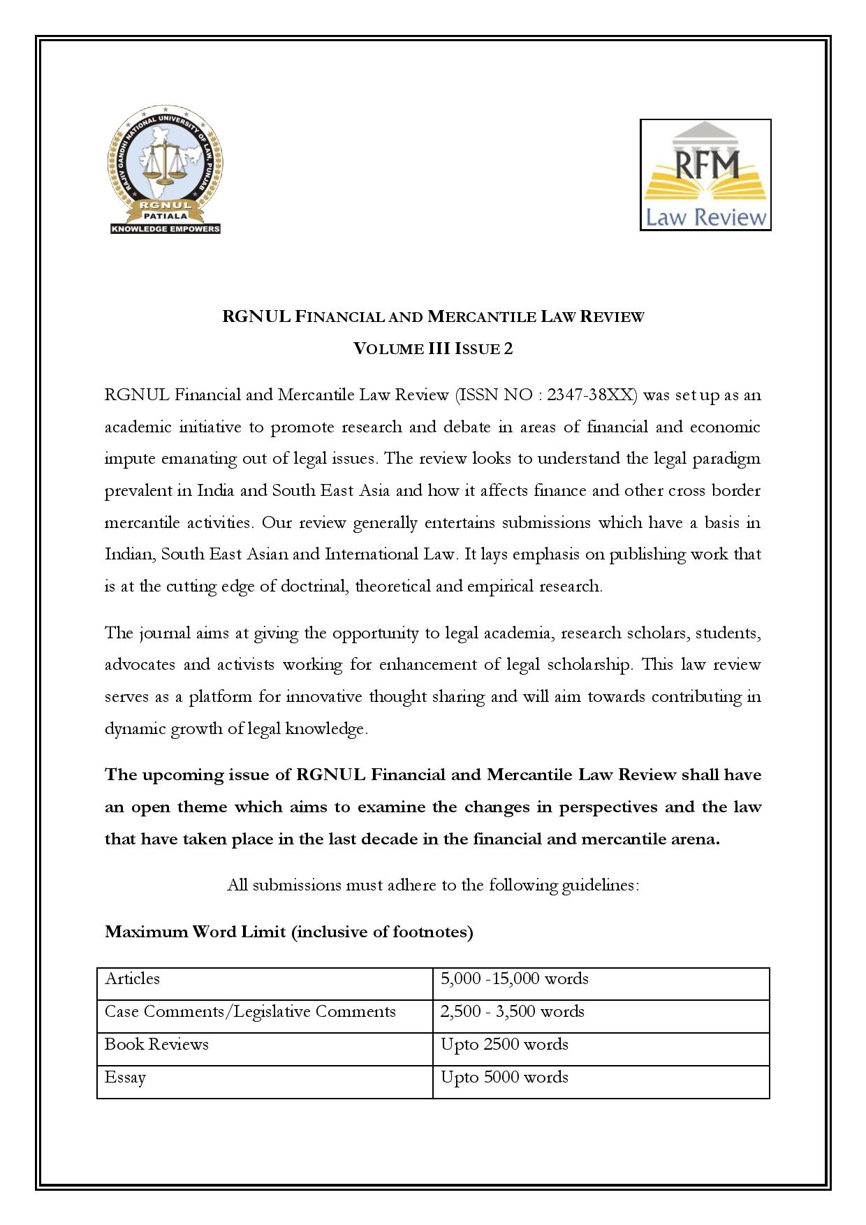 Call for Papers: RGNUL Financial and Mercantile Law Review