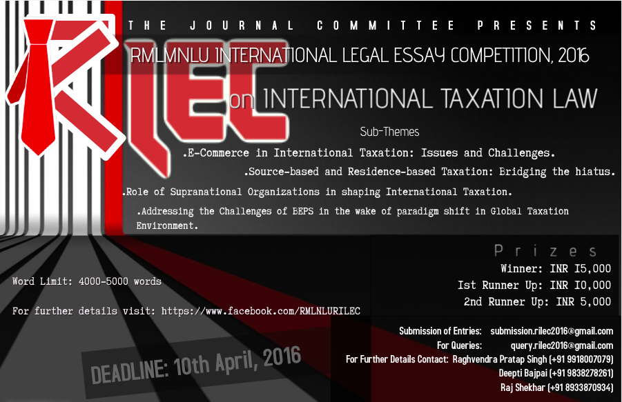 th rmlnlu international legal essay writing competition