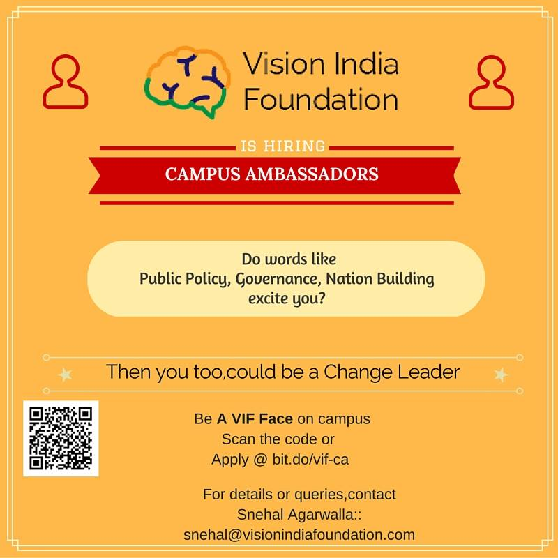 Call for Campus Ambassadors: Vision India Foundation