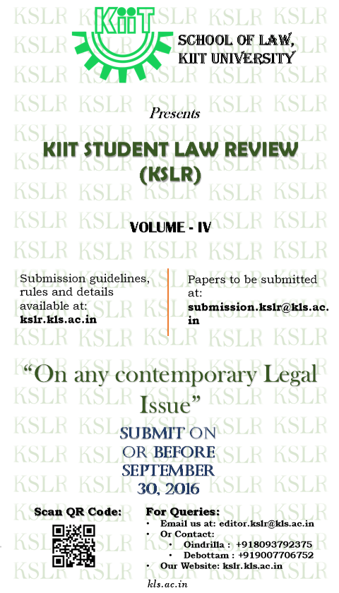 Call for Papers: KIIT Student Law Review [Volume 4]
