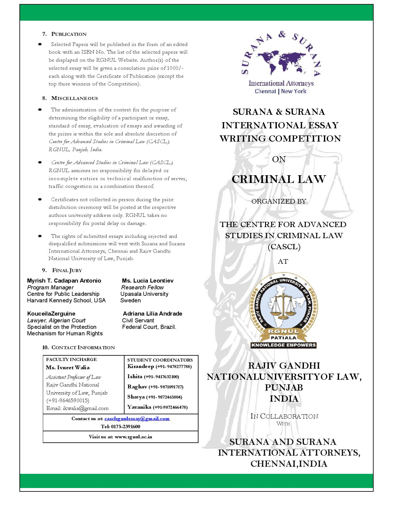 RGNUL's Surana & Surana International Essay Writing Competition on Criminal Law
