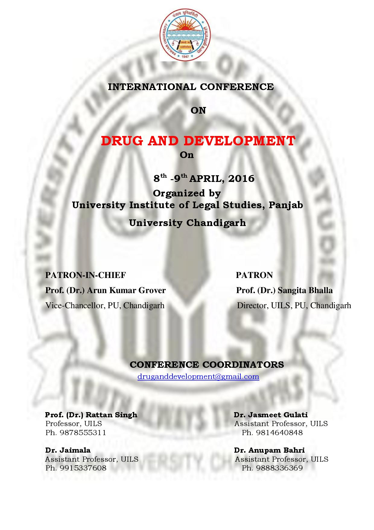 Call for Papers: UILS, Panjab University's International Conference on Drug and Development