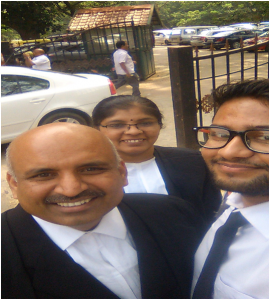 With Madhusudhana Sir and Anuradha Mam in high court of Karnataka on Dec. 14,2015. Challenging Karnataka Urban Development Act.