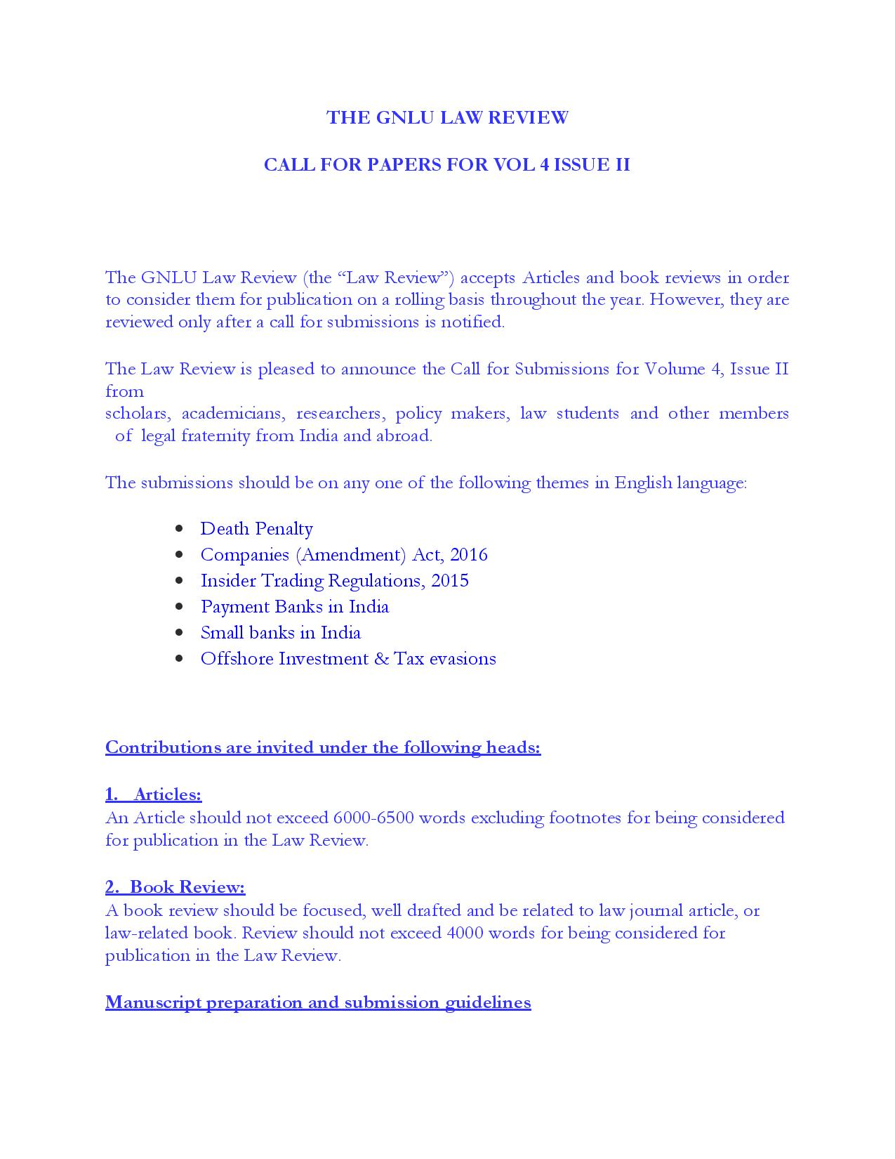 Call for Papers; The GNLU Law Review Vol 4 Issue II