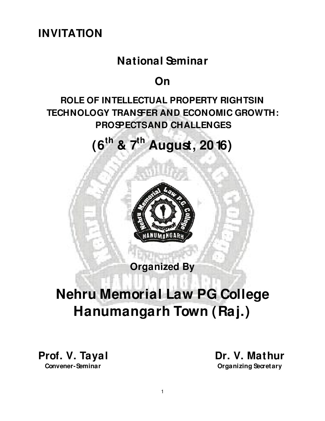 Nehru Memorial Law PG College's Seminar on Role of Intellectual Property Rights in Technology Transfer and Economic Growth