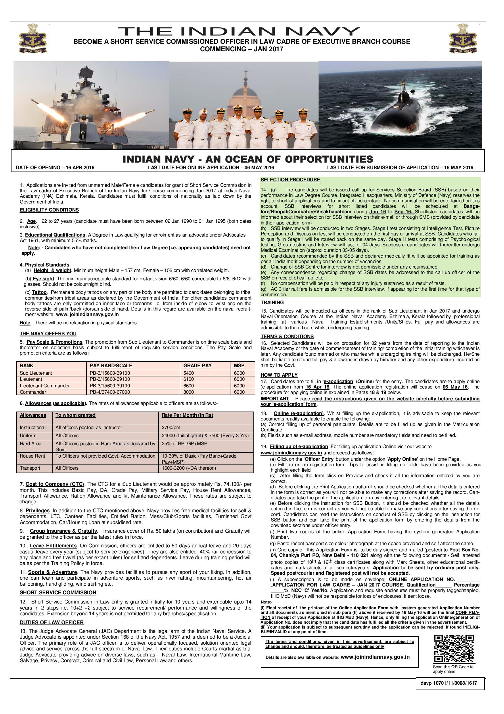 JOB POST: SSC Officer Law Cadre Executive Vacancy in Indian Navy