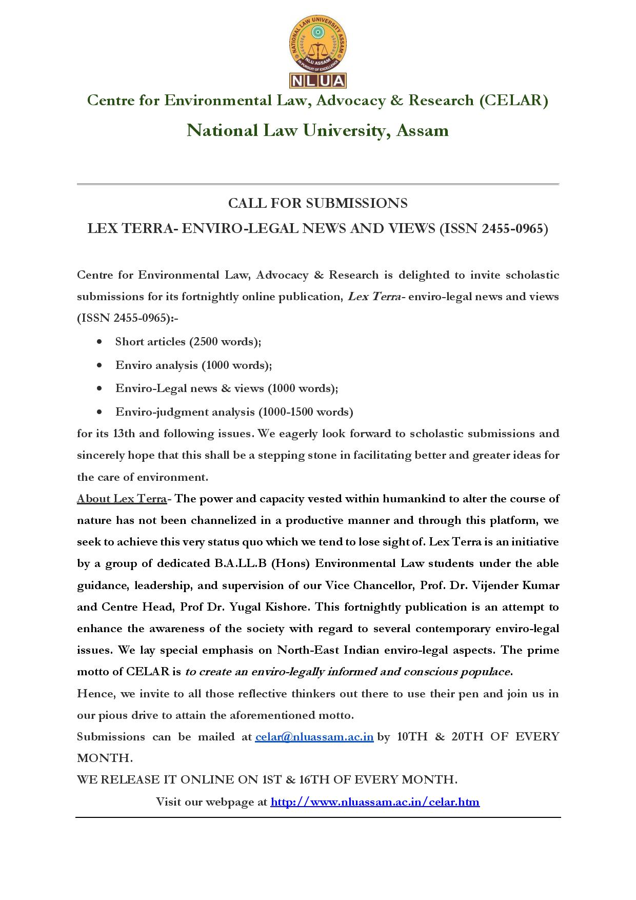 Call for Papers: NLU Assam's Lex Terra [Enviro-Legal News and Views]