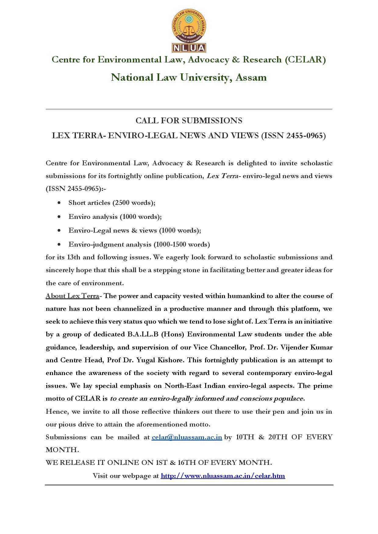 Call for Papers: NLU Assam's Lex Terra [Enviro-Legal News and Views]