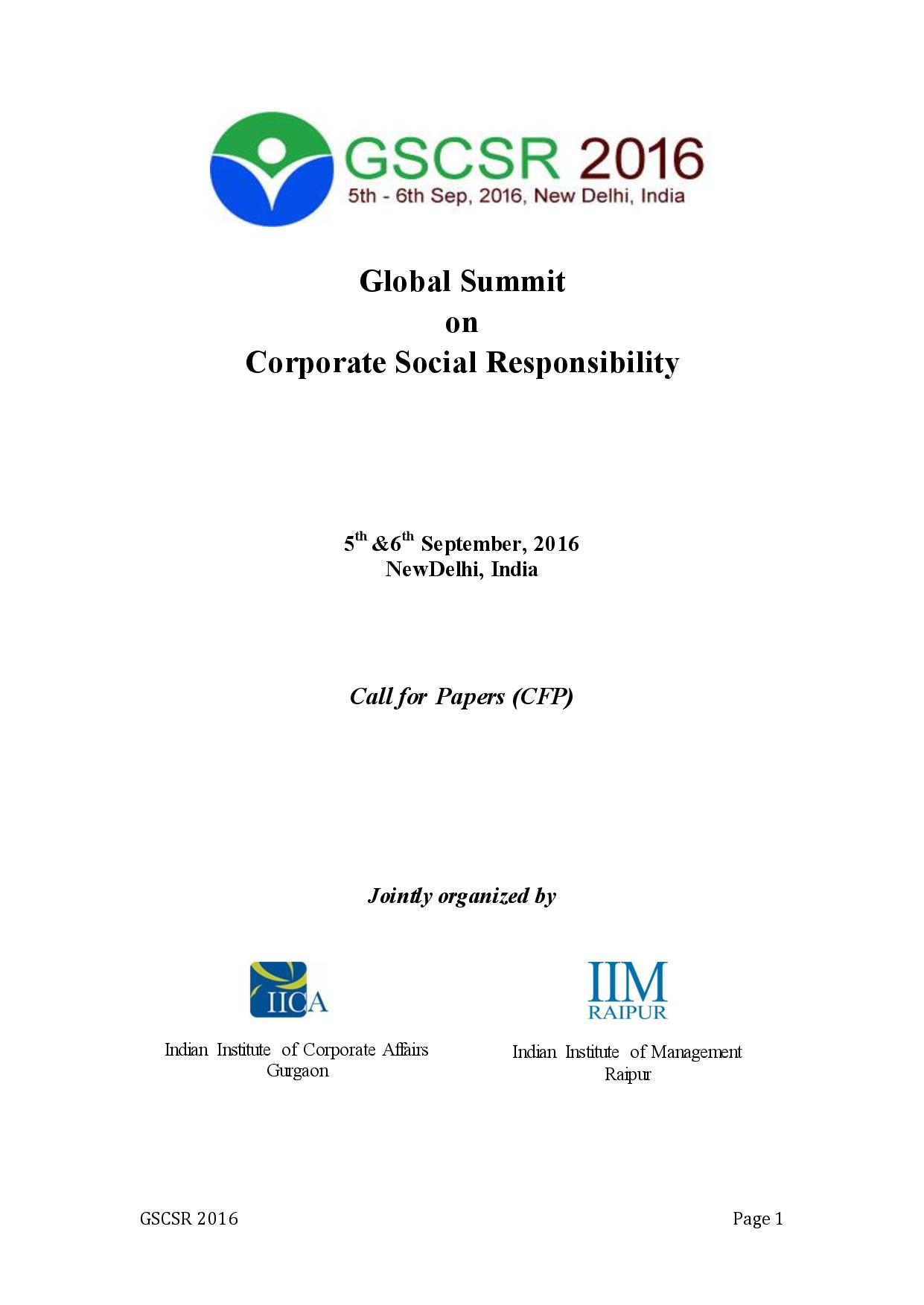 Call for Papers: Global Summit on Corporate Social Responsibility