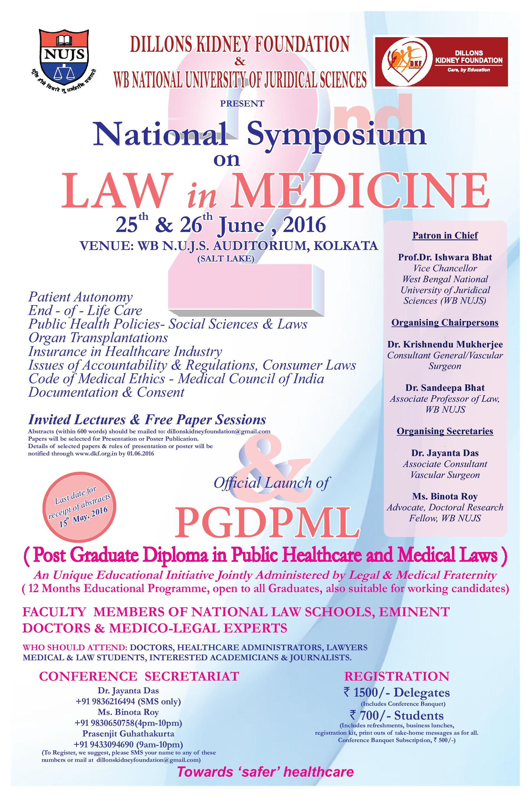 Call for Papers: NUJS' National Symposium on Law in Medicine