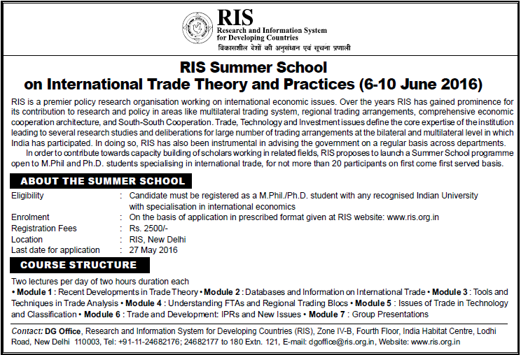 RIS Summer School on International Trade Theory and Practices