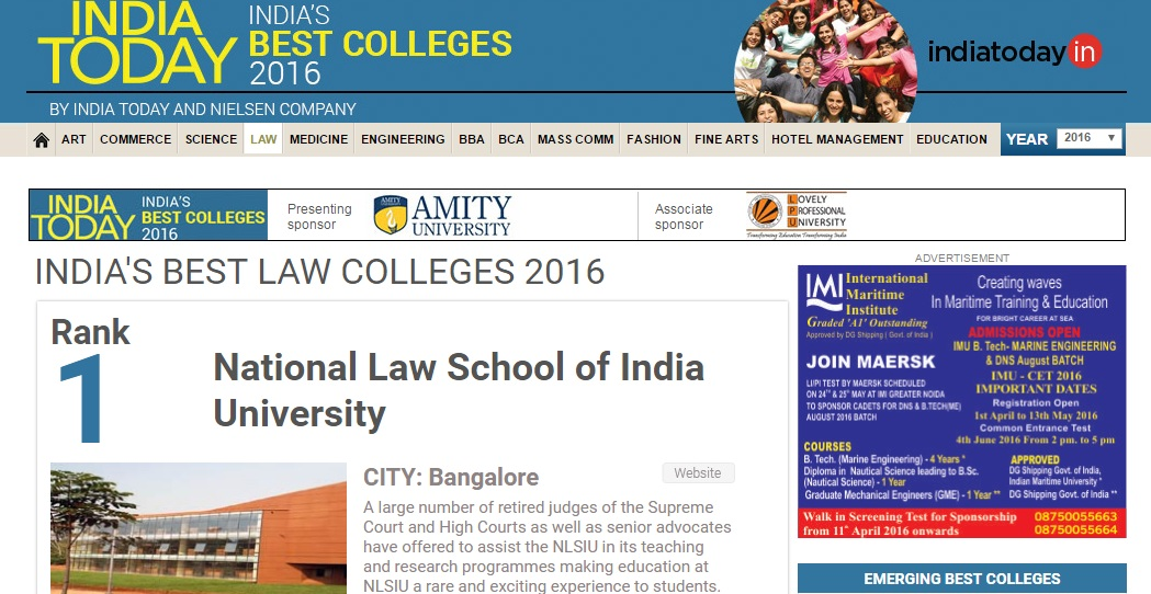 india today law college rankings 2016