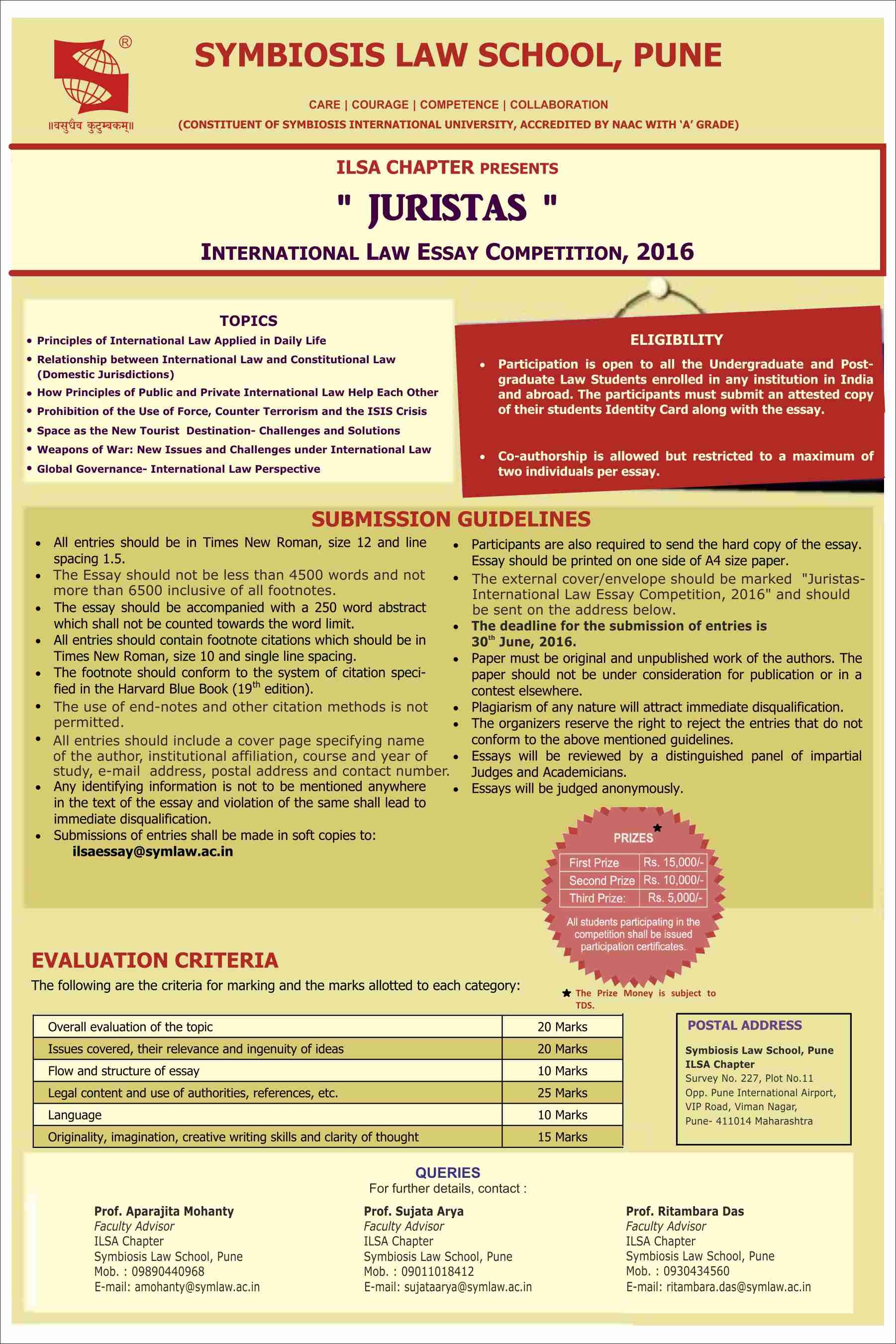 SLS Pune's JURISTAS International Law Essay Competition 2016