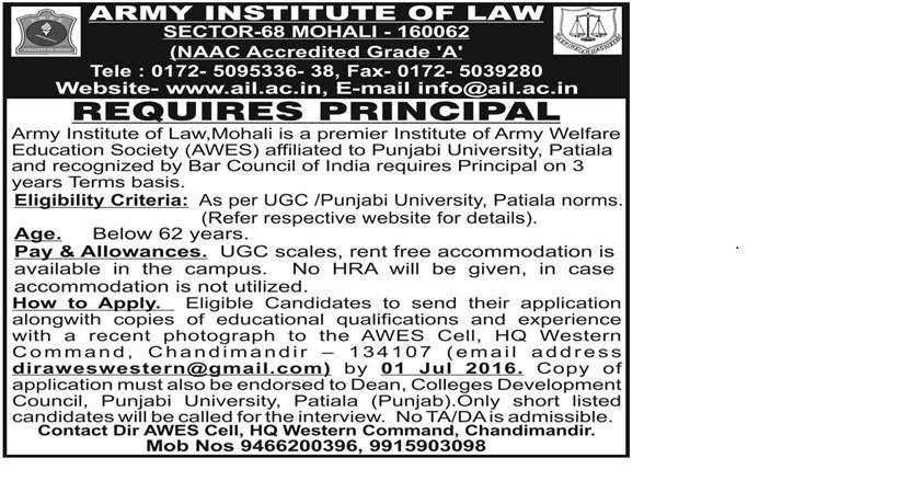 JOB POST: Principal @ AIL Mohali