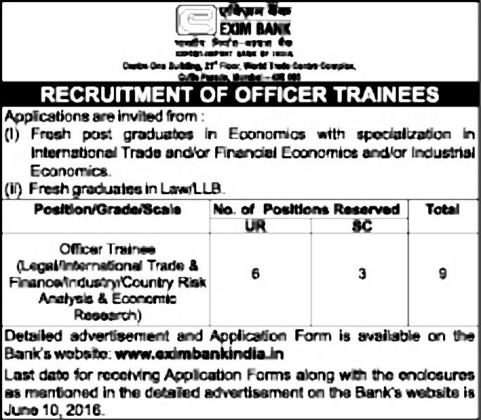 JOB POST: Trainee Officer @ Export Import Bank of India, Mumbai