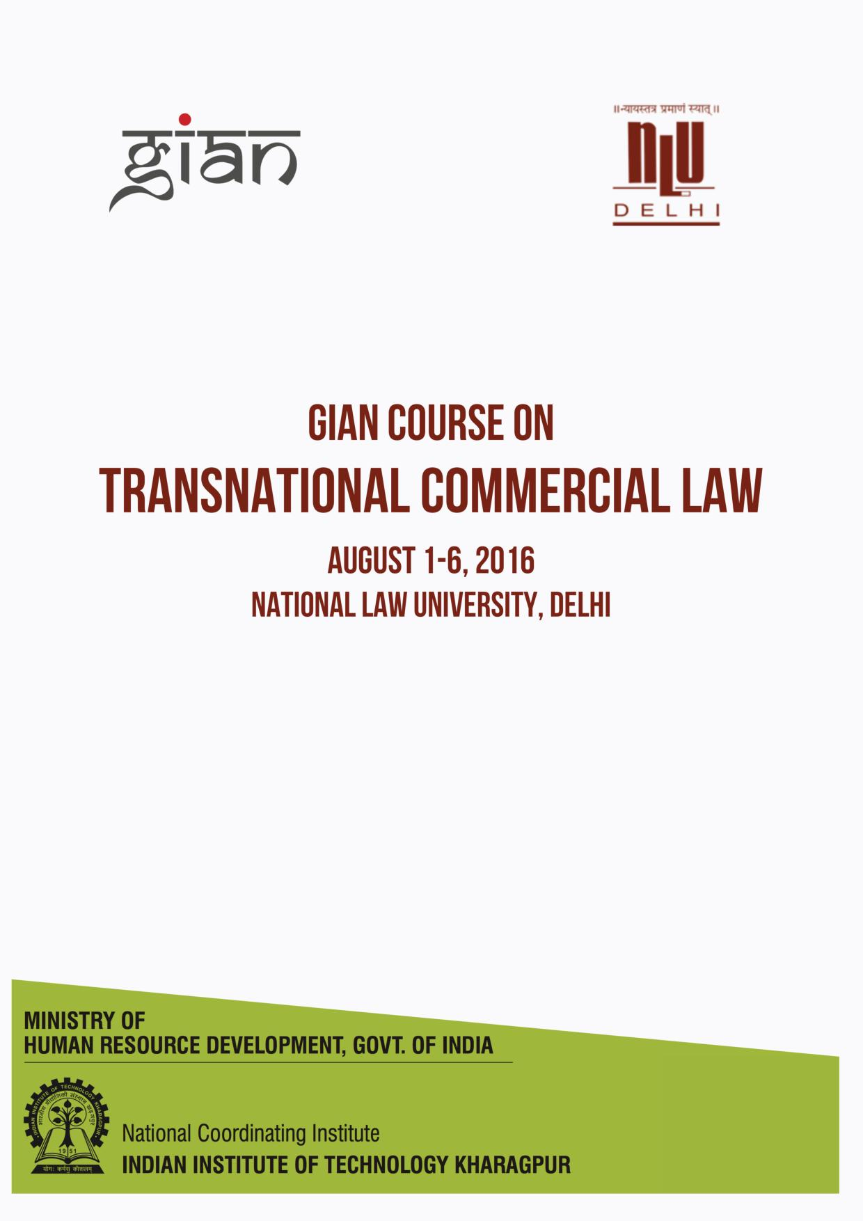 NLU Delhi Gian Course on Transnational Commercial Course