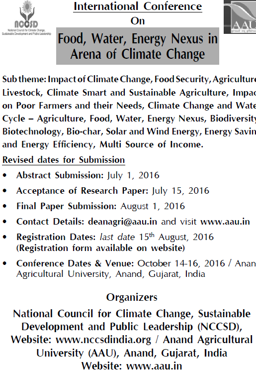 Call for Papers: NCCSD International Conference on Food, Water and Energy
