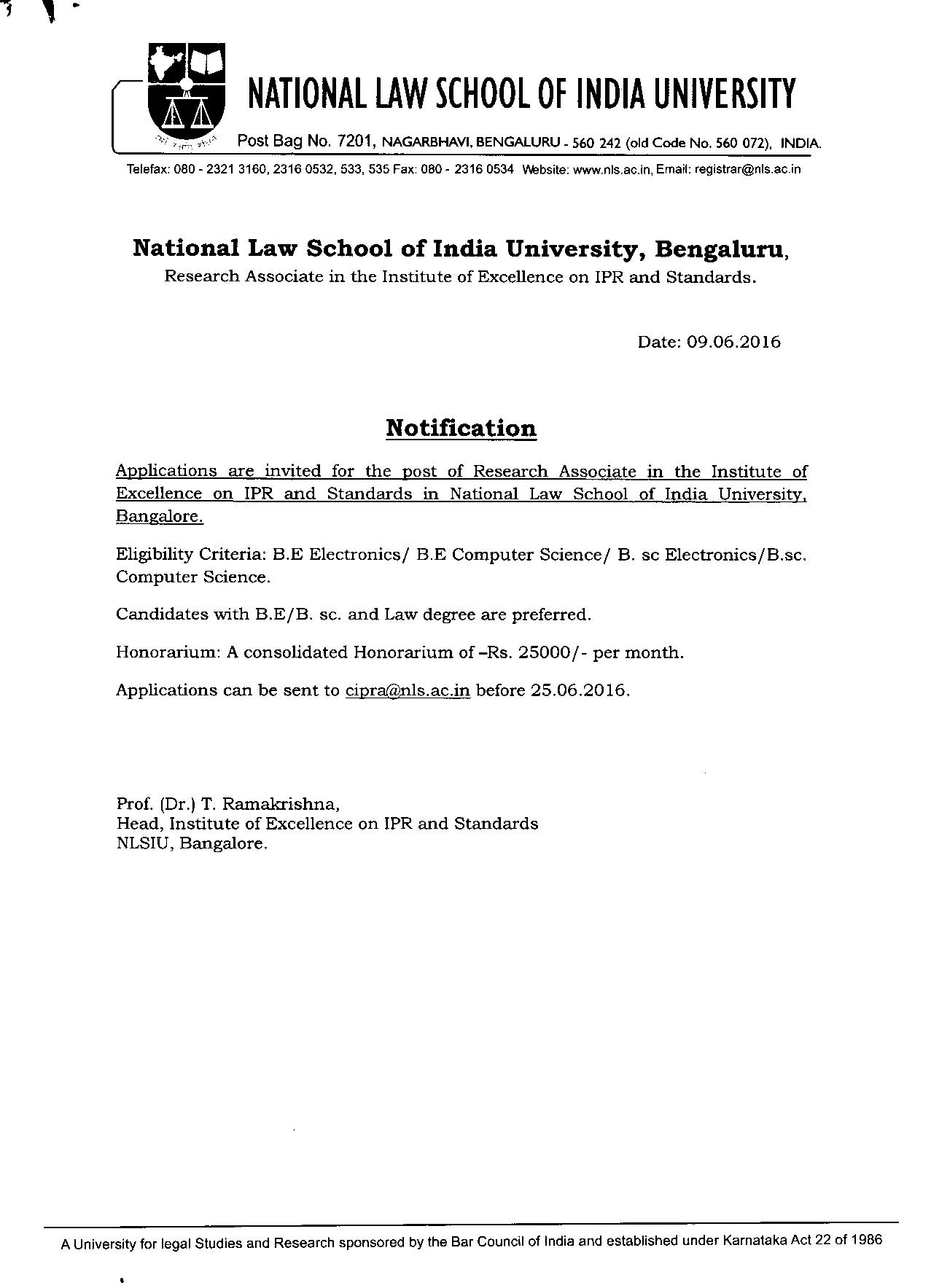 JOB POST: Research Associate @ NLSIU, Bangalore
